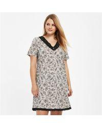 Evans - Black Lace Printed Nightdress - Lyst
