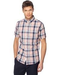 Racing Green - Pink Check Short Sleeve Tailored Fit Shirt - Lyst