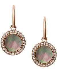 Fossil - Rose Gold Plated Mother Of Pearl Drop Earrings - Lyst