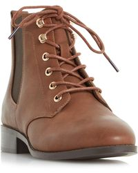 Dune - Tan 'peggie' Lace Up Chelsea Boots - Lyst