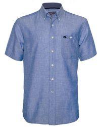 Raging Bull - Short Sleeve Linen Sky Blue Shirt - Lyst