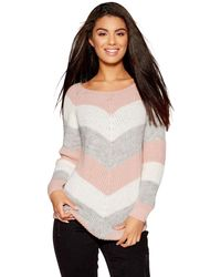 Quiz - Pink Cream And Grey Stripe Knitted Jumper - Lyst