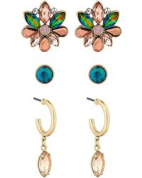 Matthew Williamson - Gold Plated Multi-coloured Glass 3 Pack Stud Earrings - Lyst