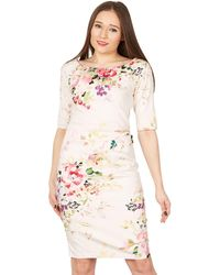 Jolie Moi - Pink Floral Print 3/4 Sleeves Bodycon Dress - Lyst