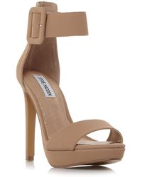 Steve Madden - Natural Suede 'coco' High Stiletto Heel Ankle Strap Sandals - Lyst