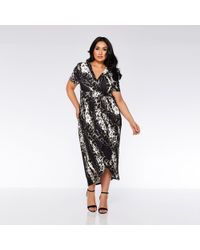 ca18528d4e Quiz - Curve Black And Brown Animal Print Wrap Dress - Lyst