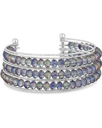 Lipsy - Faceted Beaded Cuff Bracelet - Lyst