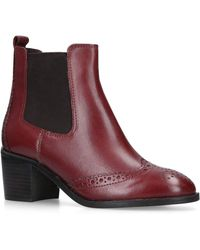 8e878a980671 Carvela Kurt Geiger - Wine  shake  Leather Block Heel Ankle Boots - Lyst