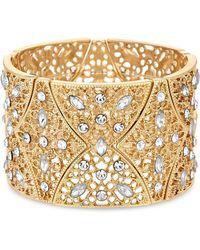 Matthew Williamson - Gold Plated Clear Statement Filigree Stretch Bracelet - Lyst