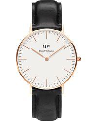 Daniel Wellington - Unisex Rose Gold 'sheffield' Black Leather Strap Watch 0508dw - Lyst