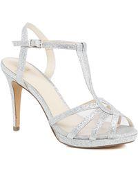 Jenny Packham - Silver Glitter 'paradise' High Stiletto Heel T-bar Sandals - Lyst