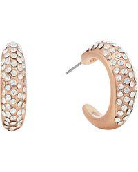 Pilgrim - Rose Gold Plated Crystal 'adey' Hoop Earrings - Lyst
