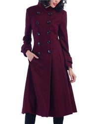Jolie Moi - Dark Red Double Breasted Flare Coat - Lyst