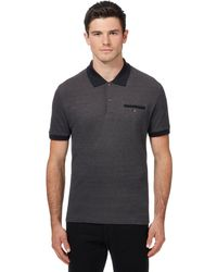 86785c563 Ben Sherman Dark Grey Knitted Long Sleeved Polo Shirt in Gray for ...