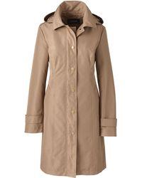 Lands' End - Beige Long Waterproof Hooded Rain Coat - Lyst