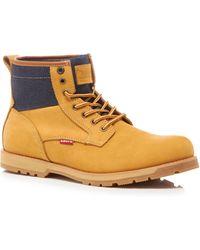 Levi's - Beige Leather 'logan' Lace Up Boots - Lyst