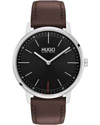 BOSS Orange - Men's Brown Analogue Leather Strap Watch 1520014 - Lyst