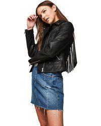 Miss Selfridge - Black Fringe Polyurethane Biker Jacket - Lyst