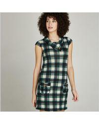 8b9139f3a5dfb Apricot - Green Check Flap Neck Tunic Dress - Lyst
