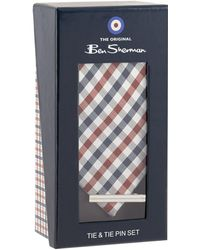 Ben Sherman - Multi-coloured Silk Checked Tie And Tie Pin Set - Lyst