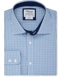 Tm Lewin - Regular Fit Blue Navy Multi Check Long Sleeve Length Shirt - Lyst