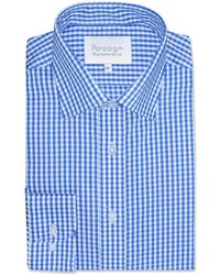 Double Two - Blue Checked Single Cuff 100% Cotton Shirt - Lyst