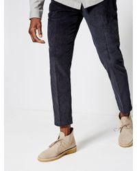 Burton - Tyrell Navy Cord Tapered Trousers - Lyst