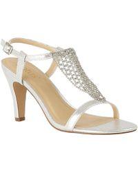 f34b27d3b78 Lotus - Silver Diamante  lola  High Stiletto Heel Ankle Strap Sandals - Lyst