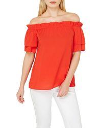2db670422b2 New Look Burgundy Frill Bardot Neck Crop Top in Red - Lyst
