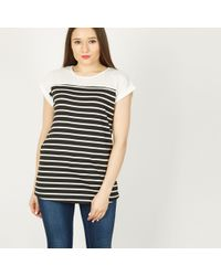 Izabel London - Black Roll Up Sleeve T-shirt Top - Lyst