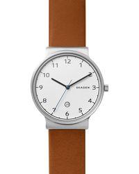 Skagen - Men's Brown Leather Strap Watch - Lyst