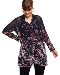 Studio 8 - Sizes 16 To 26 Navy And Pink Corabella Long Line Blouse - Lyst