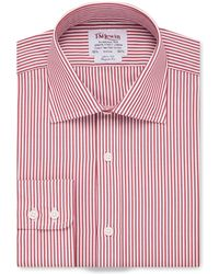 Tm Lewin - Regular Fit Red Bengal Stripe Poplin Regular Sleeve Length Shirt - Lyst