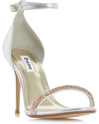 Dune - Silver 'myrtle' Beaded Trim Two Part Heeled Sandals - Lyst