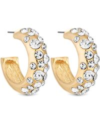 Matthew Williamson - Gold Plated Clear Crystal Chubby Hoop Earrings - Lyst