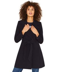 Oasis - Navy Wrap Coat - Lyst