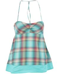 Roxy - Green Woven Plaid Top - Lyst