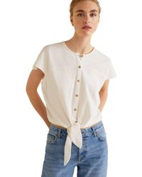 Mango - White Knotted Hem Top - Lyst