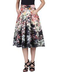 Jolie Moi - Black Floral Print Pleated A-line Skirt - Lyst