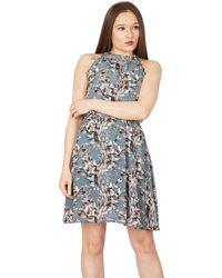 Tenki - Blue Halter Neck Floral Tea Dress - Lyst