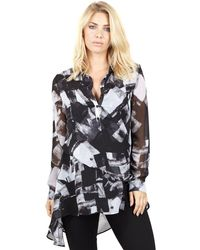 Izabel London - Black Abstract Printed Layered Top - Lyst