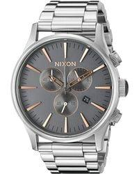 Nixon The Sentry Chrono silver - Lyst