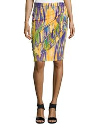 Natori - Tboli Printed Draped Pencil Skirt - Lyst