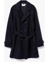 Topman | Navy Wool Bonded Trench Coat | Lyst