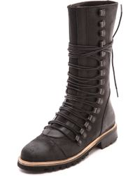 Free People Fleet Lace Up Boots Black - Lyst
