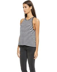 Enza Costa Cropped Tank Top - Blackwhite - Lyst