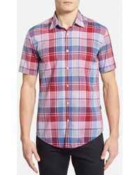 Hugo Boss 'Marco' Slim Fit Short Sleeve Plaid Sport Shirt - Lyst