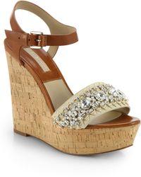 Michael Kors Anastasia Embellished Leather & Suede Cork Wedge Sandals beige - Lyst