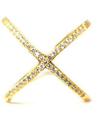 MaLi Beads   Aida .925 Cz Gold Plated X Ring   Lyst