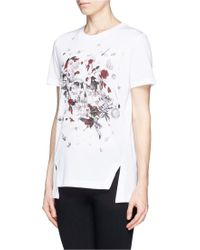 Alexander McQueen Blossom Embroidery Organza Sleeve T-Shirt white - Lyst